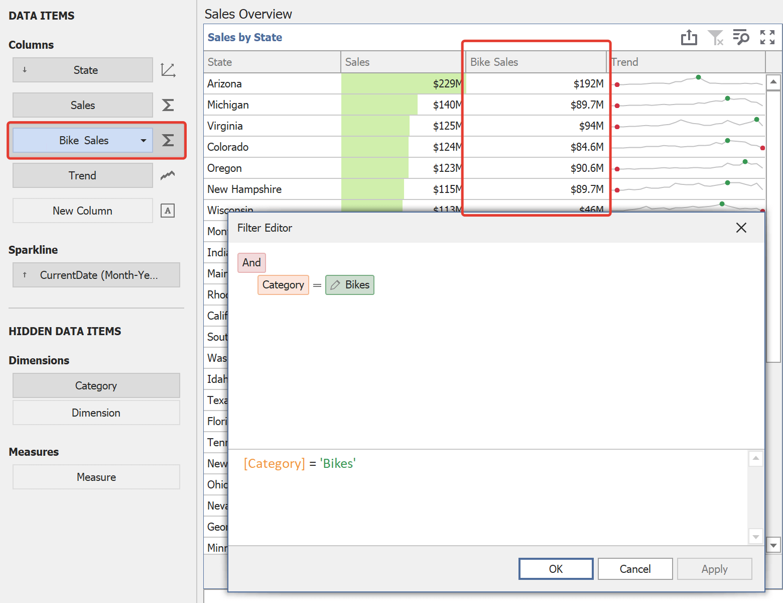 DevExpress Dashboard Filter to the Measure