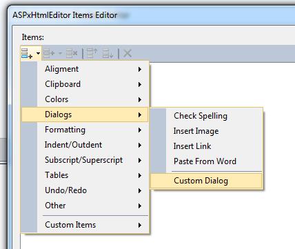 10.2 Html Editor Items Editor Dialog