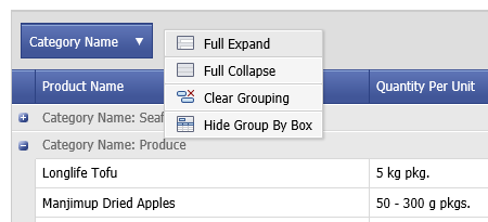 DevExpress ASP.NET GridView Context Menu - Group Row