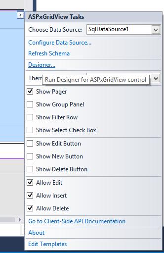 DevExpress ASP.NET GridView - SmartTag Designer