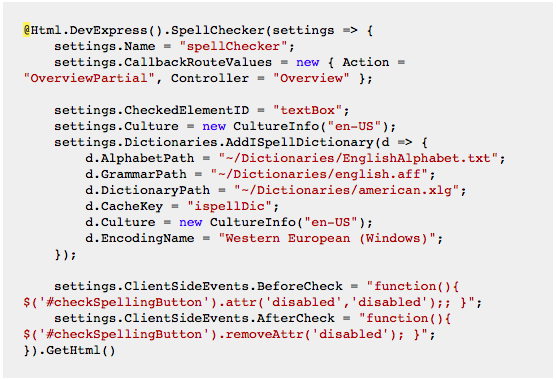 DevExpress MVC SpellChecker - Partial View Code