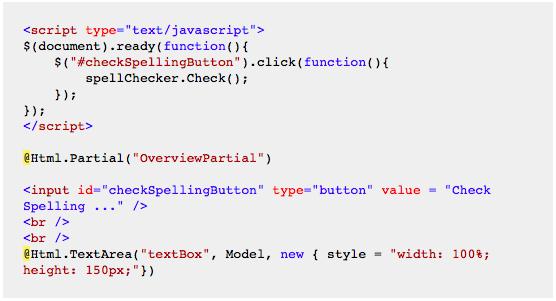 DevExpress MVC SpellChecker - View Code