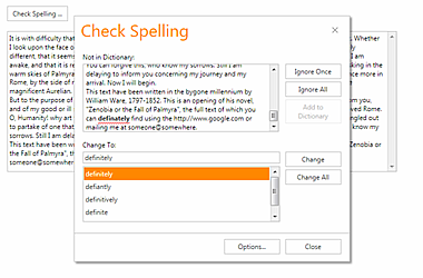 DevExpress MVC Spell Checker