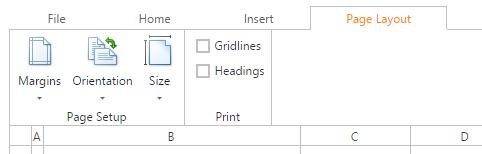 DevExpress ASP.NET Spreadsheet - Page Layout