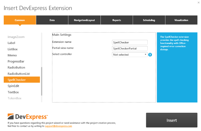 DevExpress MVC Insert Extension Dialog