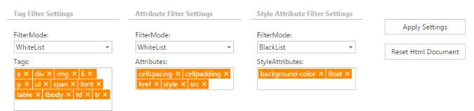 DevExpress ASP.NET HTML Editor - Content Filtering