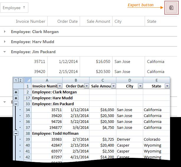 DevExtreme HTML5 Widgets - Data Grid Export, Fixed Columns