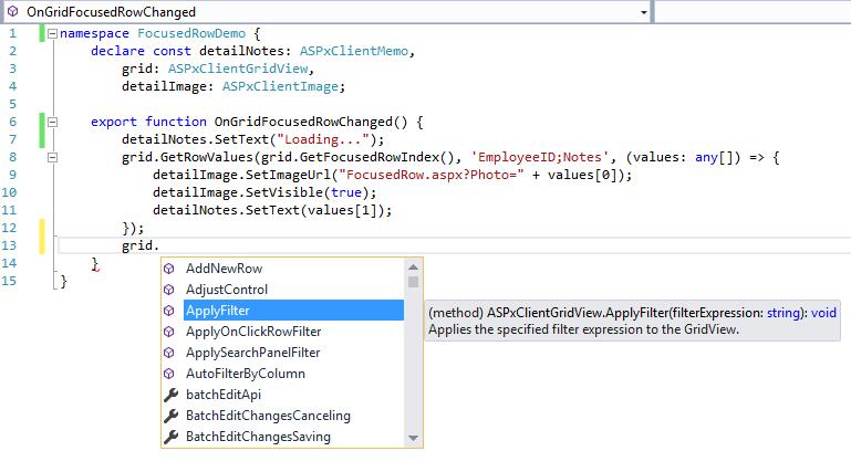 DevExpress ASP.NET TypeScript Intellisense
