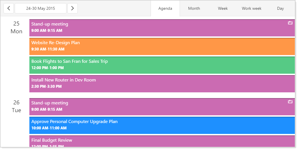DevExtreme Scheduler - Agenda View