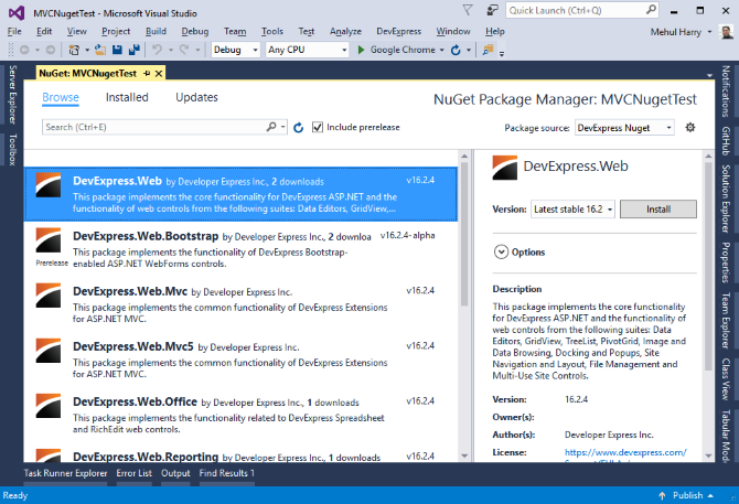Add DevExpress NuGet Feed