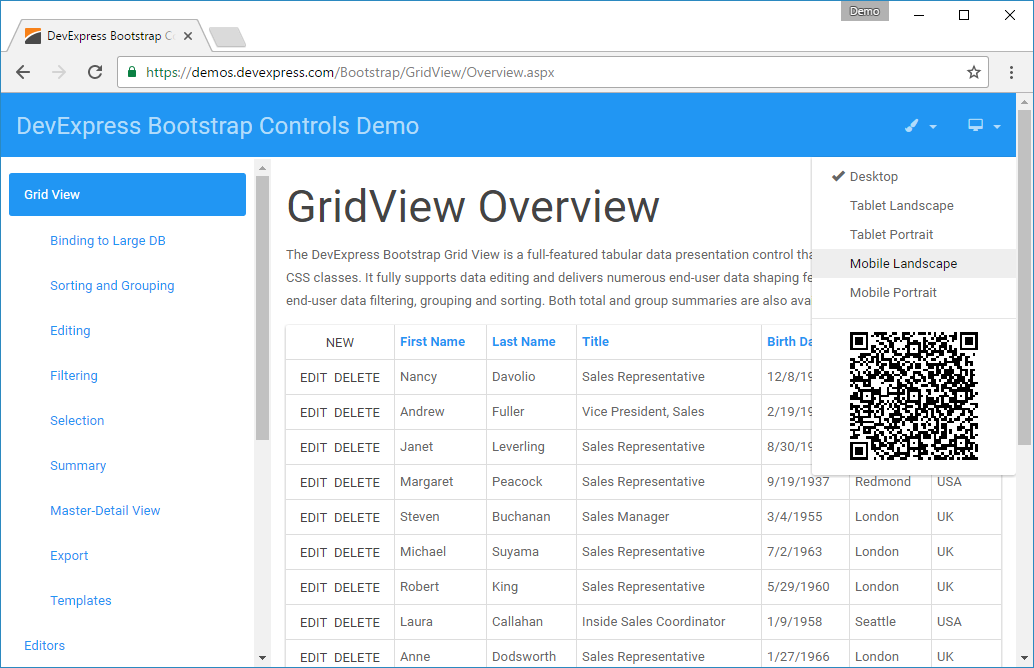 Try the new DevExpress ASP NET Bootstrap Controls Demos