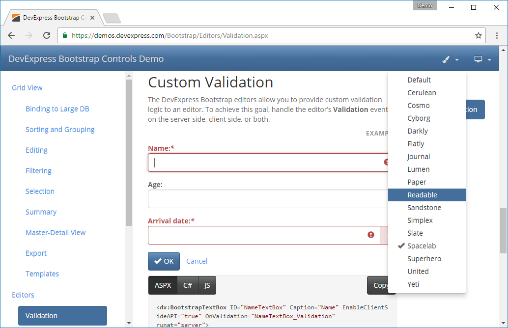 Try the new DevExpress ASP NET Bootstrap Controls Demos (Preview)