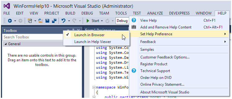 Visual Studio Help Preference Launch in browser