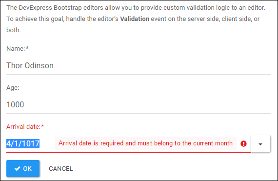 DevExpress ASP.NET Bootstrap Editors: Custom Validation