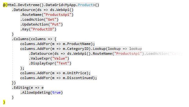 DevExtreme MVC - New Web API and Razor View Scaffolding Wizard (v18 1)