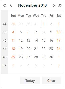 DevExpress ASP.NET Calendar - Month-Year - Days View