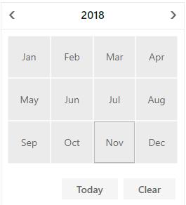 DevExpress ASP.NET Calendar - Month-Year - Months View