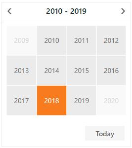 DevExpress ASP.NET Calendar - Month-Year - Years View