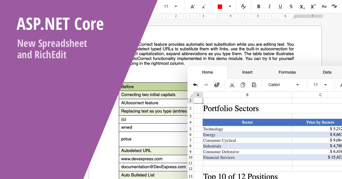 ASP NET Core Office components - New Spreadsheet and Rich Text