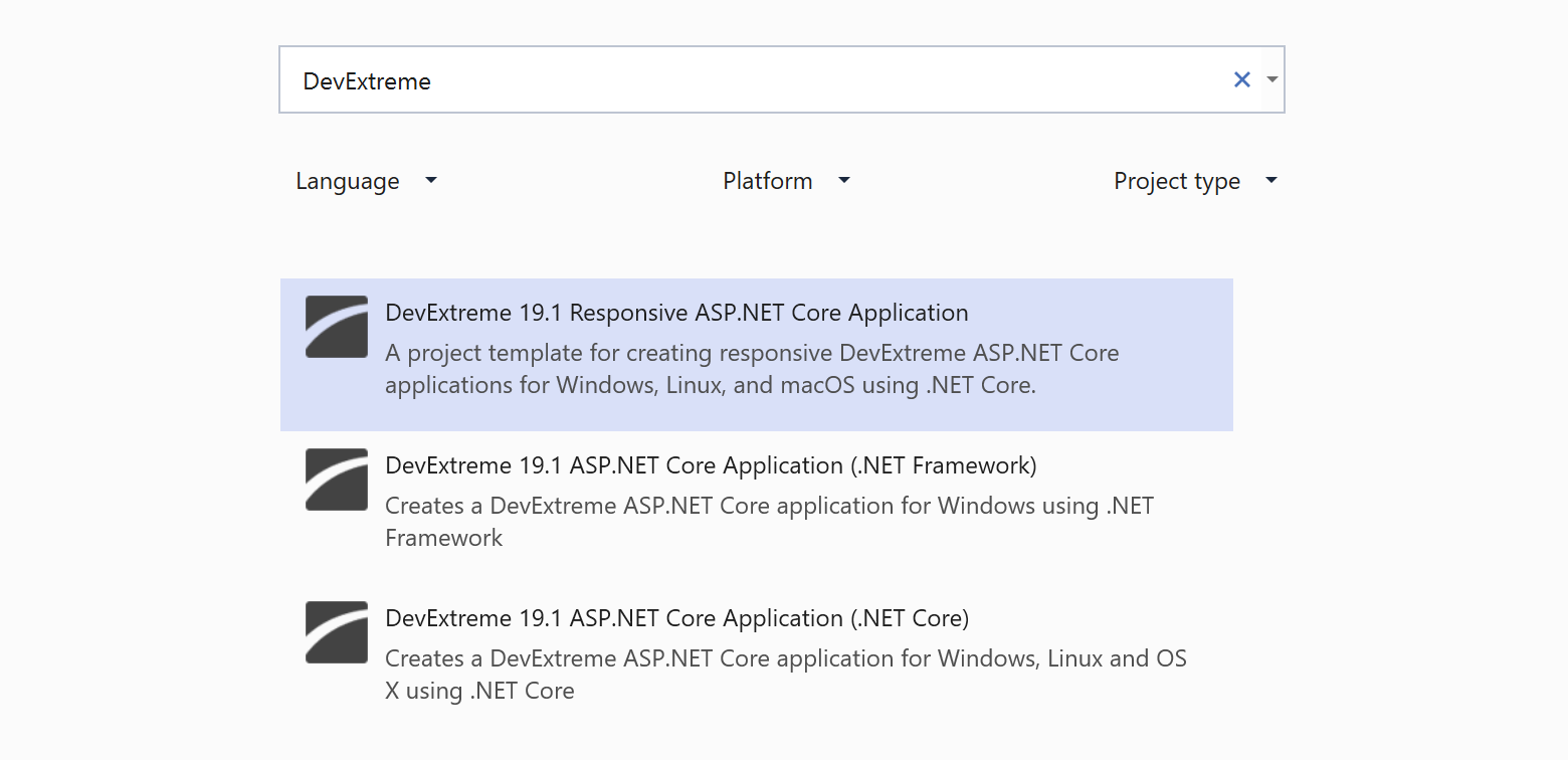 ASP NET Core - New DevExtreme-based Responsive Project
