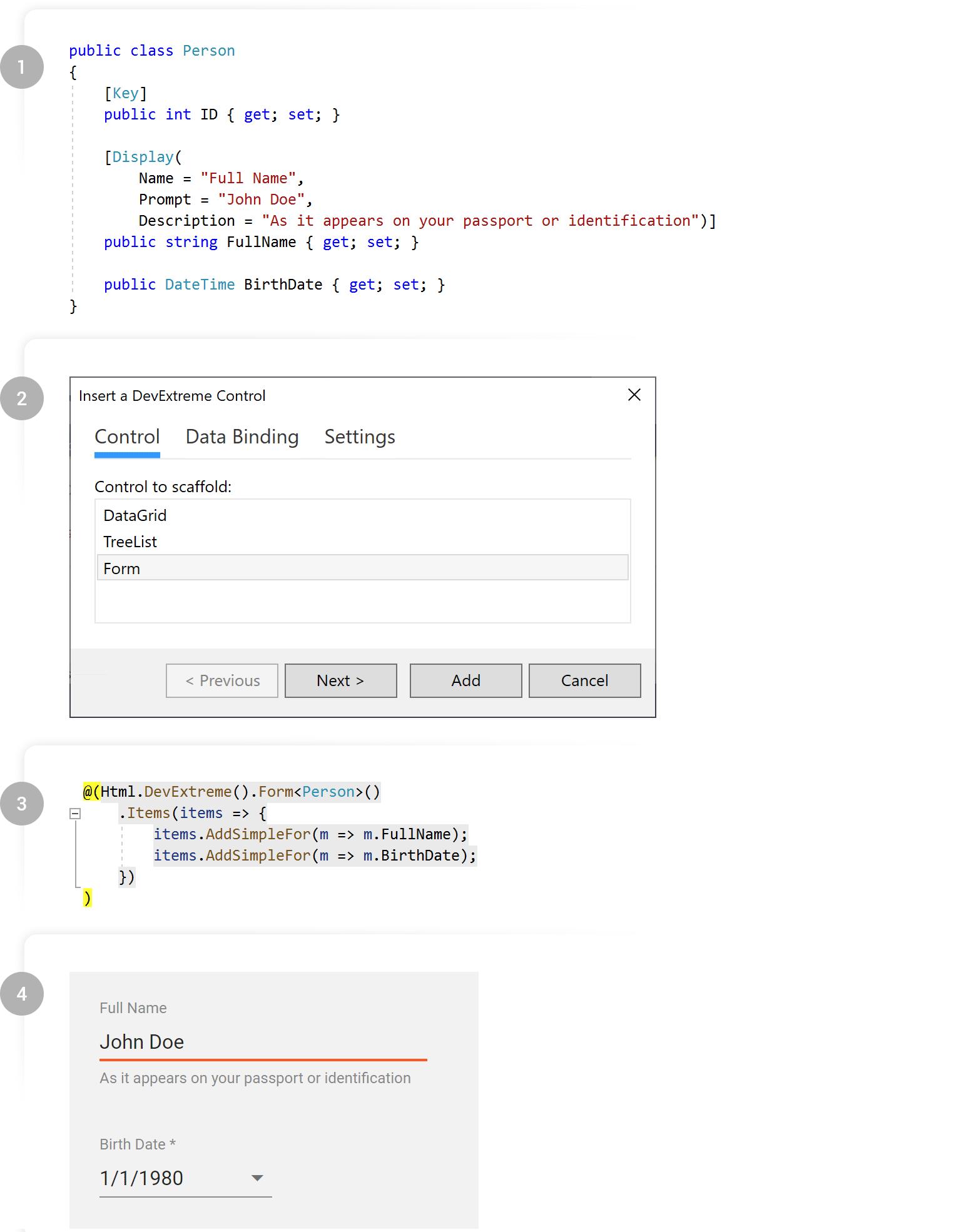 DevExtreme ASP.NET Form Wizard