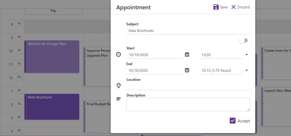 Blazor Scheduler Custom Edit Form