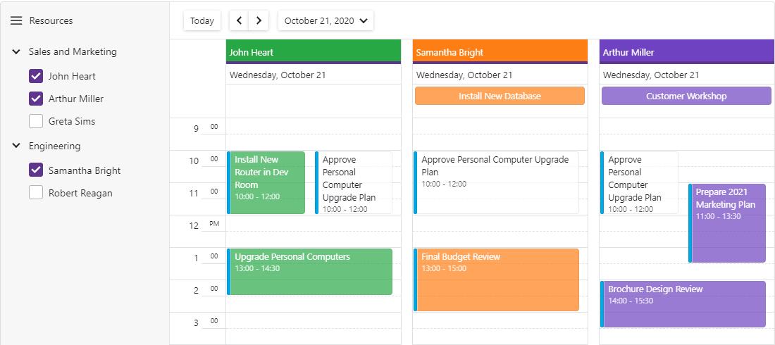 Blazor Scheduler Resource Navigation Filter