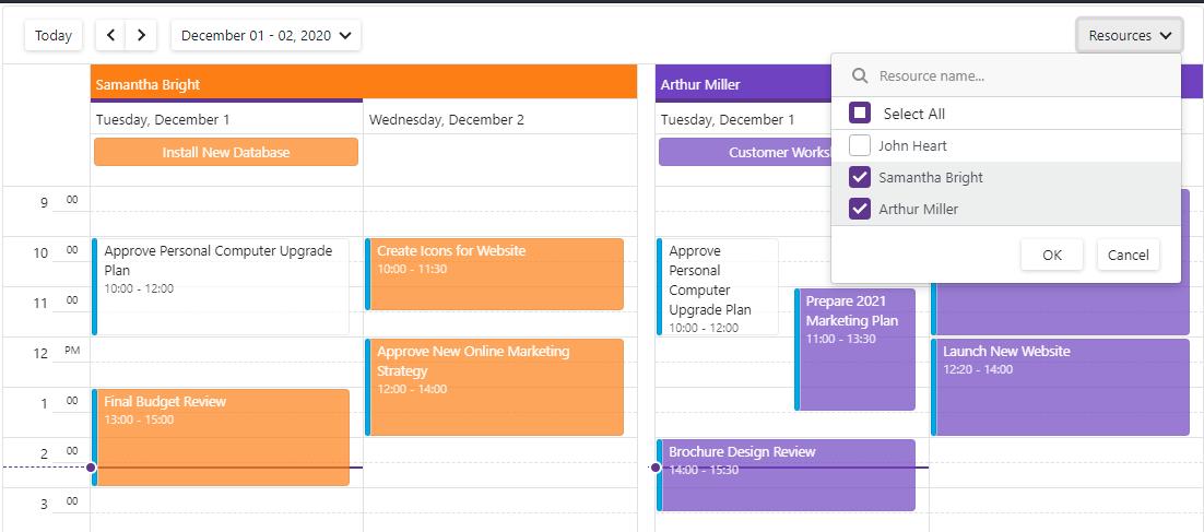 Blazor Scheduler Resource Navigation