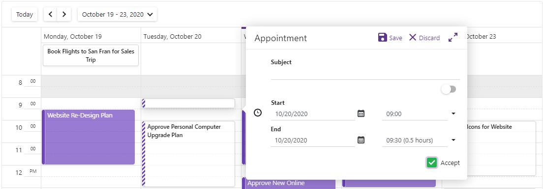 Blazor Scheduler Edit Form Customization