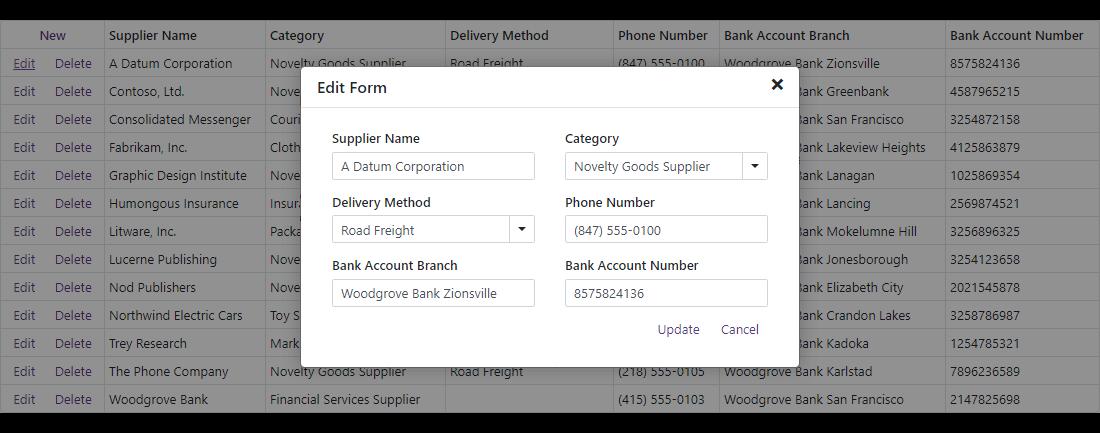 DevExpress Blazor DataGrid - Popup Edit Form
