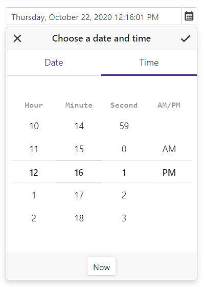 DevExpress Blazor Date Edit Time Section