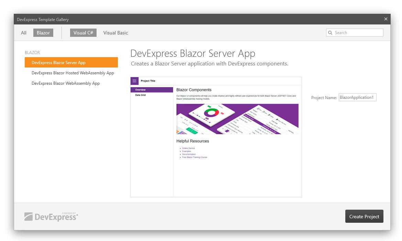 DevExpress Blazor Project Templates