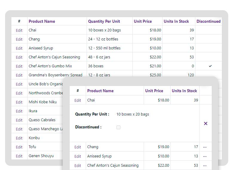 DevExpress Blazor Data Grid - Mobile Friendly - Adaptive