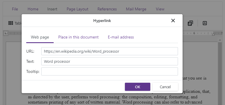 Blazor-rich-text-editor-insert-hyperlink-dialog