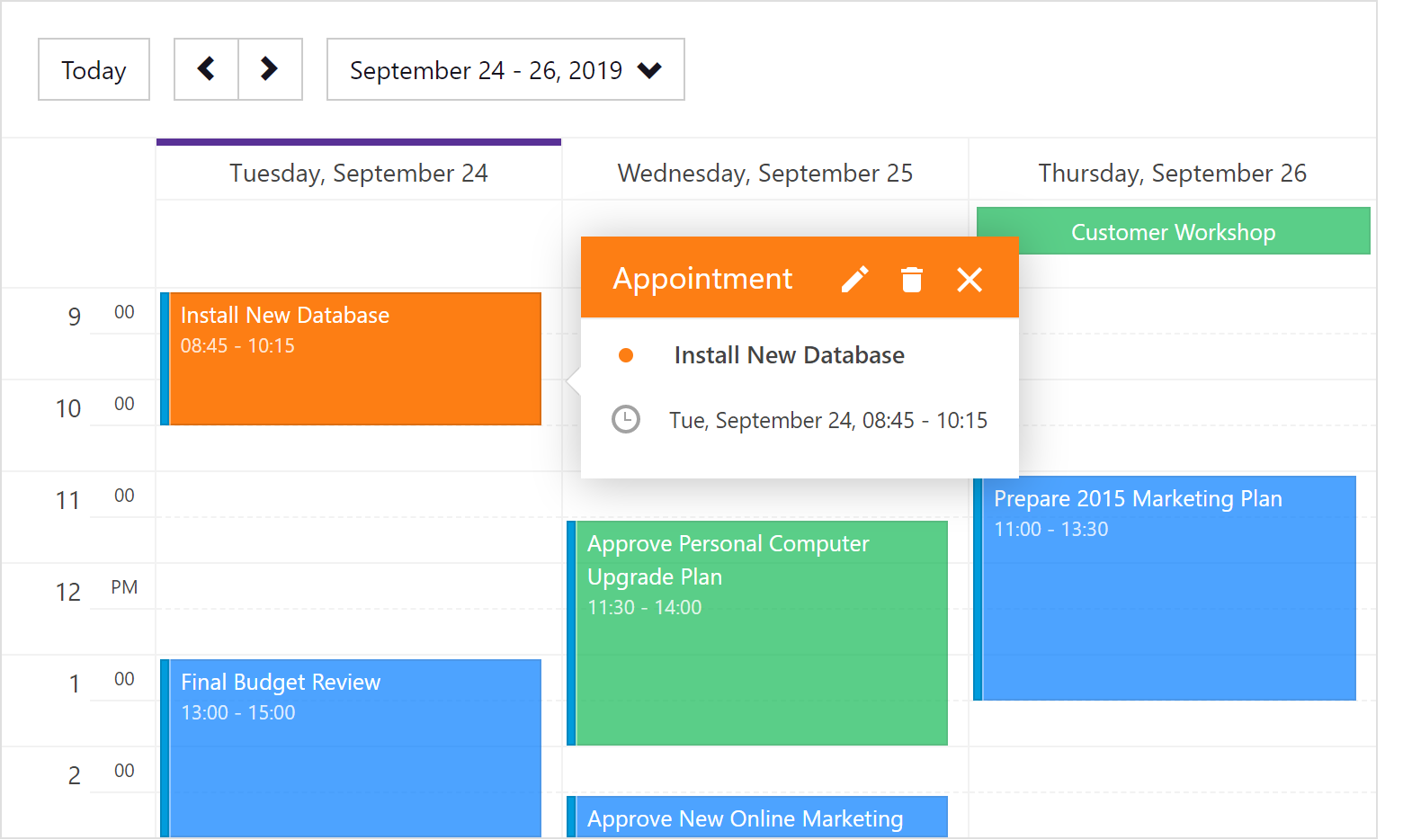 DevExpress Blazor Scheduler