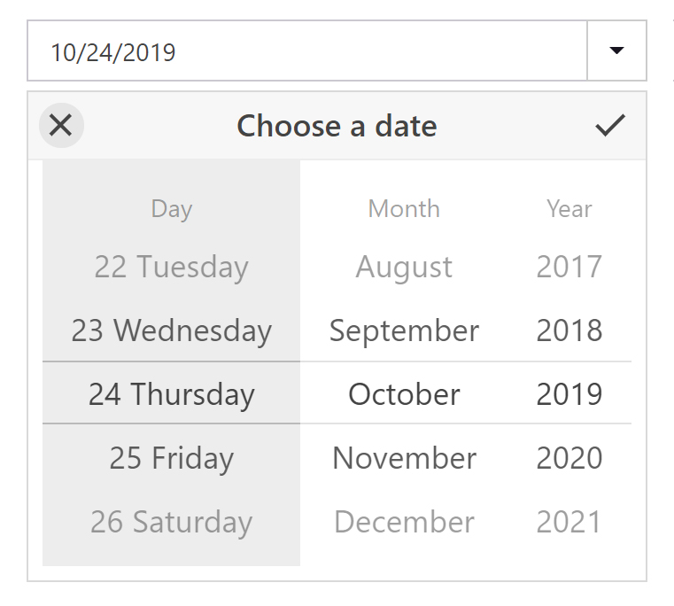 DevExpress Blazor Date Edit Scroll Picker