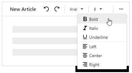 DevExpress Blazor Toolbar