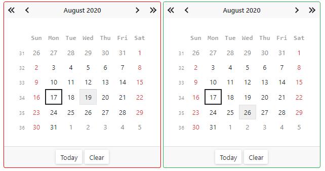 Blazor Calendar Date Validation