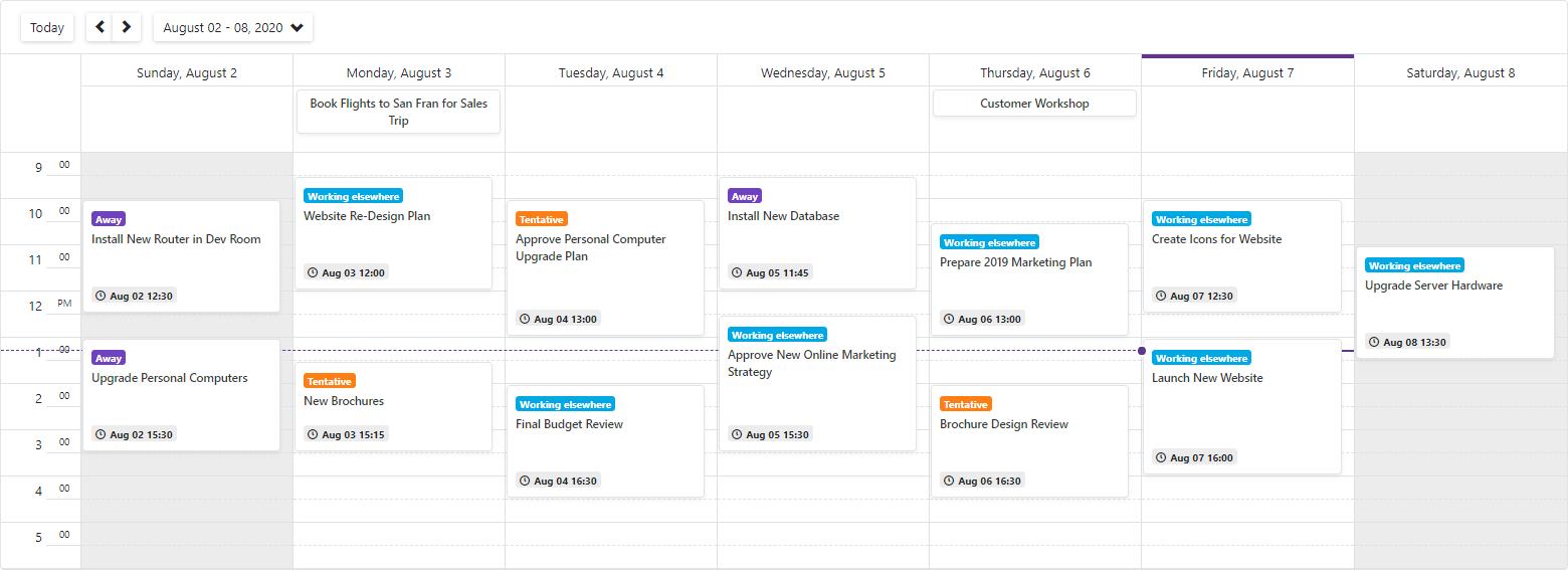 DevExpress Blazor - Scheduler - Appointment Template