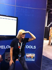 Amanda having some fun at the booth