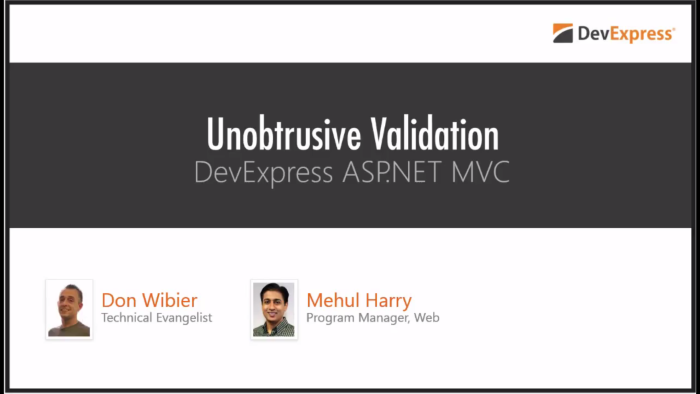 DevExpress ASP.NET MVC: Unobtrusive Validation