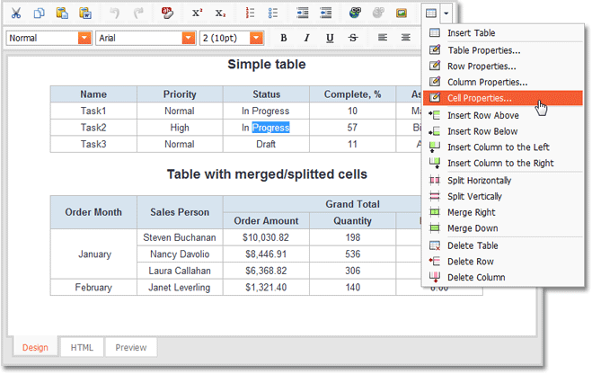 Asp net html editor new table cell split and merge for Html program for table