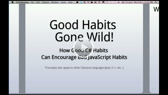 DevExpress JavaScript jQuery Webinar - Good C# Habits Can Encourage Bad JavaScript Habits