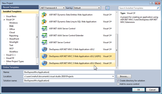Asp net mvc 3 project templates razor support and empty for Aspx net templates