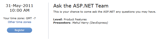 Register for Ask the ASP.NET Team webinar
