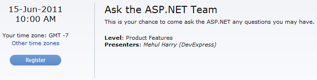 Register for DevExpress ASP.NET Webinar