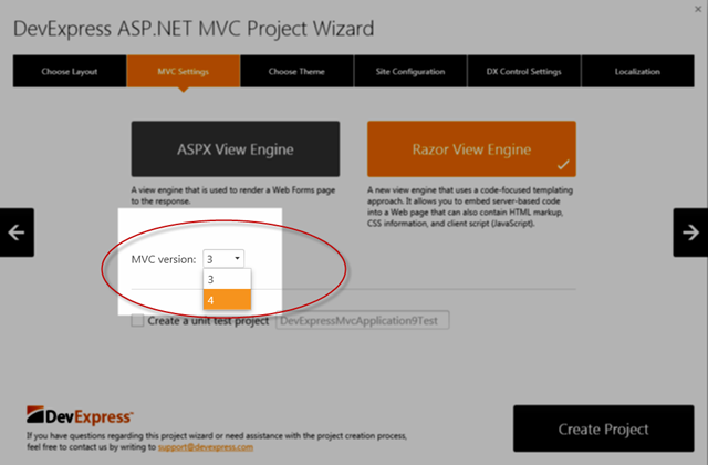 DevExpress ASP.NET MVC Project Wizard