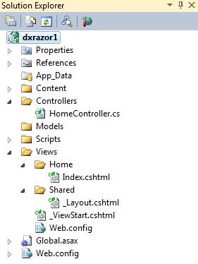 DevExpress ASP.NET MVC 3 Project Templates - Layout