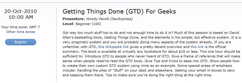 GTD for Geeks Webinar