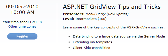 ASP.NET GridView Tips and Tricks Webinar